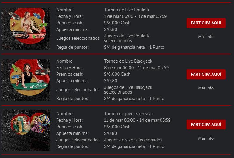 fechas de torneos de live casino