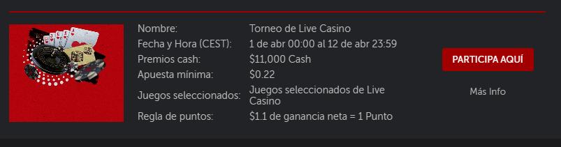 calendario de live casino