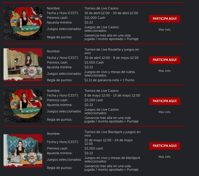 calendario desafío live casino