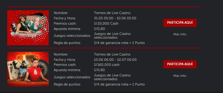 cronograma de torneo live casino