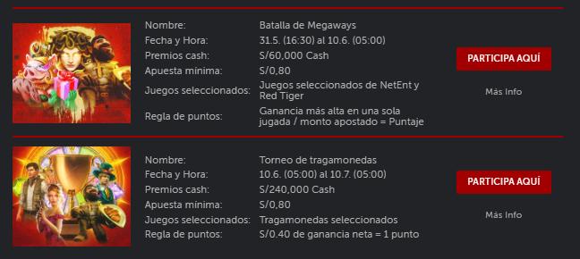 calendario de torneo de casino